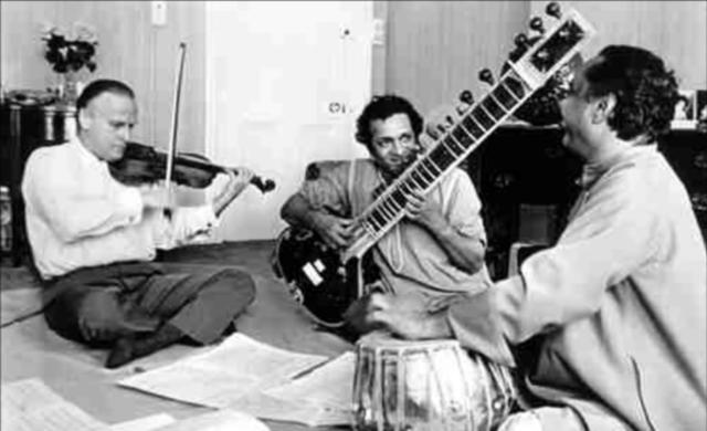 Yehudi Menuhin, Ravi Shankar, Alla Rahka (imagem: reprodução)