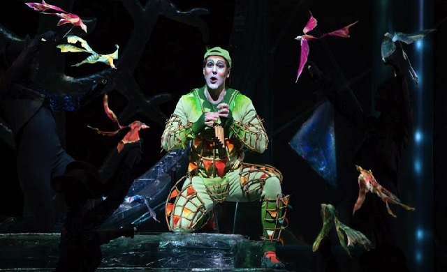 "Nathan Gunn as Papageno in Mozart's ""The Magic Flute."" Photo by Marty Sohl/Metropolitan Opera."