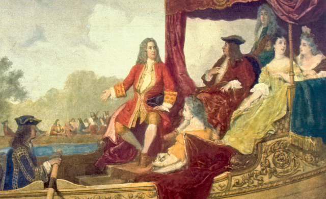 George Frideric Handel (à esquerda) e o rei Jorge I (à direita). Pintura de Edouard Jean Conrad Hamman